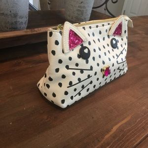 Betsey Johnson Cream Spotted Cat Makeup Clutch Bag